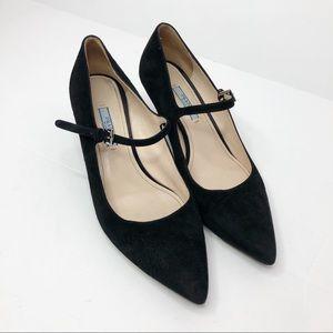 Prada Kitten Heel Pointed Toe Black Suede 39.5/9.5